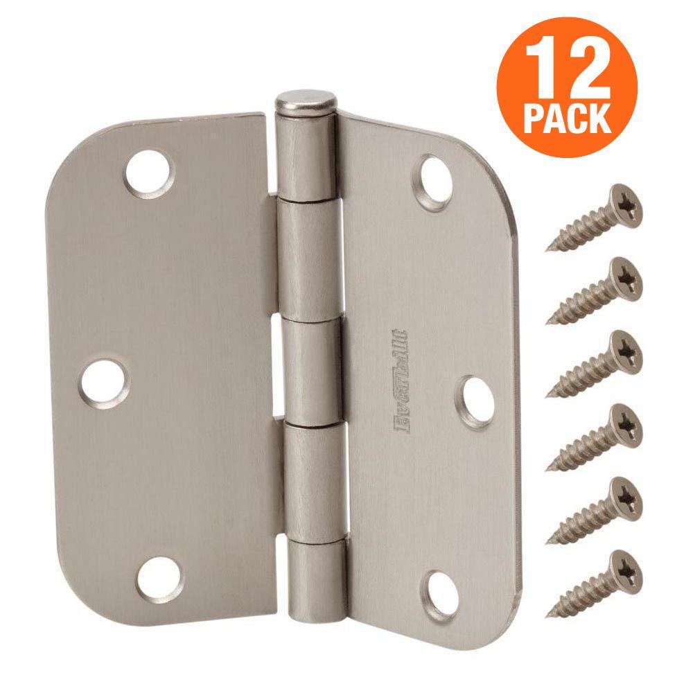 1//4 Radius Corners Pack of 50 Kesler 3 1//2 Inch Satin Nickel Door Hinges