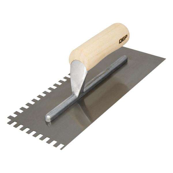 1/4 in. x 3/8 in. x 1/4 in. Traditional Carbon Steel SquareNotch Flooring Trowel with Wood Handle