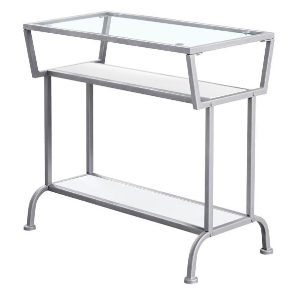 Jasmine 22 in. White/Silver Metal End Table