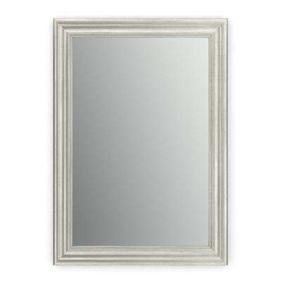 33 in. x 47 in. (L1) Rectangular Framed Mirror with Standard Glass and Easy-Cleat Float Mount Hardware in Vintage Nickel