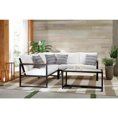 West Park Black Aluminum Patio Sectional Seating Set with CushionGuard White Cushions