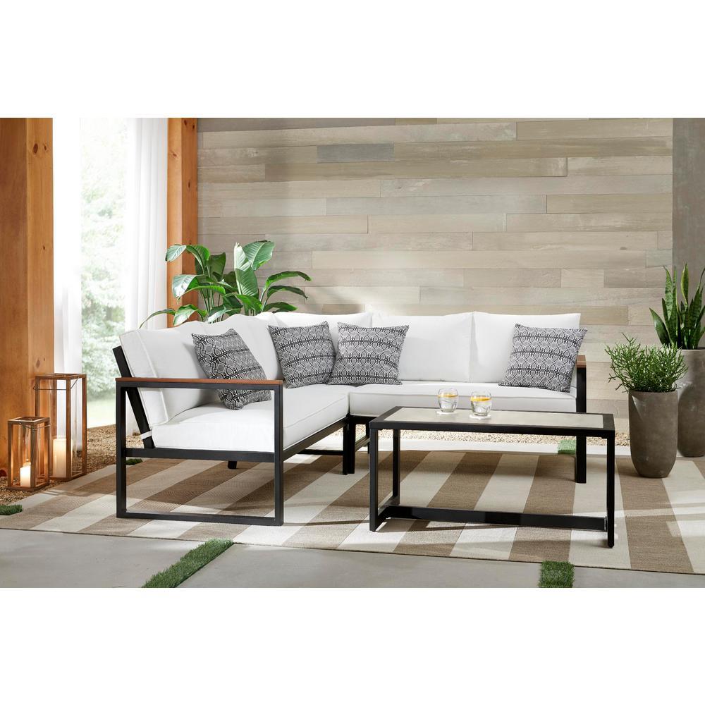 West Park Black Aluminum Patio Sectional Seating Set With Cushionguard White Cushions