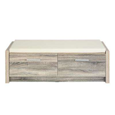 Domigo Beech Color Media TV Stand Storage Console with PVC Cushion