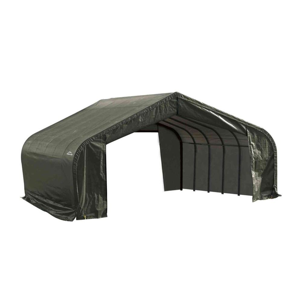 ShelterLogic 22 ft. x 36 ft. x 11 ft. Green Cover Peak Style Shelter - DISCONTINUED