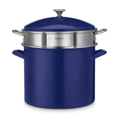 20 Qt. Enamel on Steel Stockpot with Lid and Steamer Insert