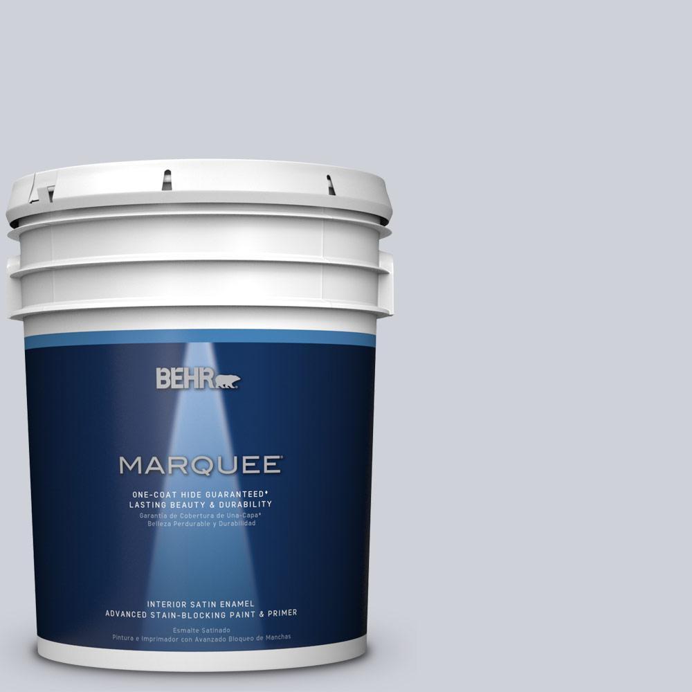 BEHR MARQUEE 5 gal. #MQ3-61 Moonlit Snow One-Coat Hide Satin Enamel Interior Paint