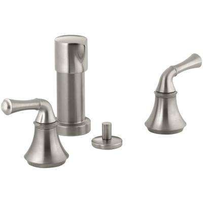 Forte 2-Handle Bidet Faucet in Vibrant Brushed Nickel with Traditional Lever Handles