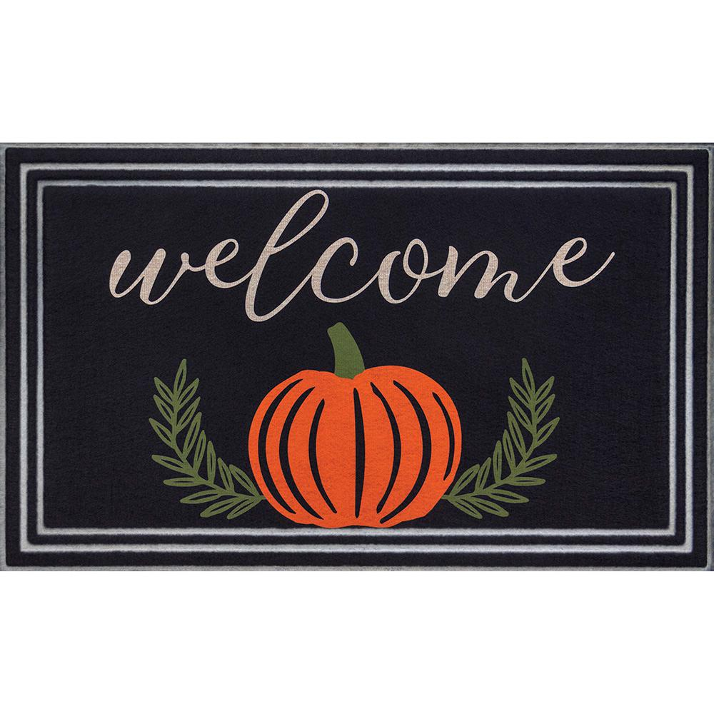 Home Accents Holiday Welcome Pumpkin Branches 18 in. x 30 in. Black Door Mat