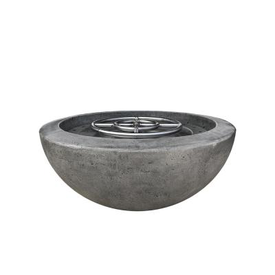 Belvedere 29 in. x 12 in. Round Concrete Natural Gas Fire Pit in Pewter with 54 lbs. Bag of 0.75 in. Black Lava Rocks