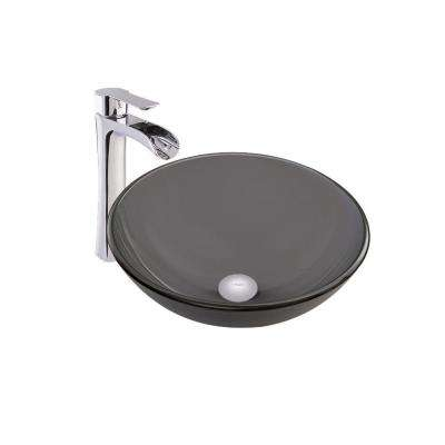 Vessel Sink in Sheer Black Frost and Niko Faucet Set in Chrome