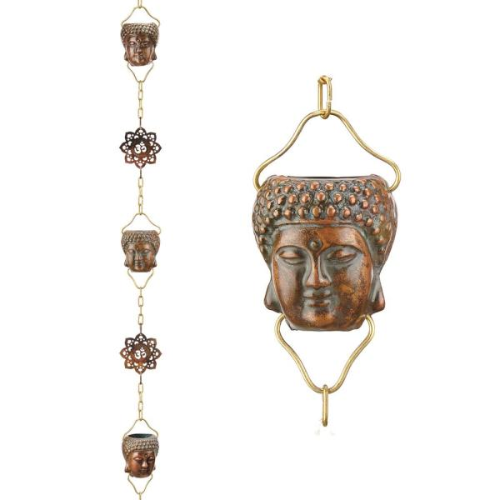 Buddha 8.5 ft. Pure Verdigris Copper Rain Chain