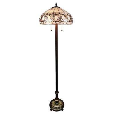 62 in. Multicolored Tiffany Style Floral Floor Lamp
