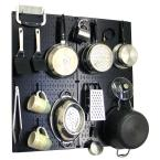 Kitchen Pegboard 32 in. x 32 in. Metal Peg Board Pantry Organizer Kitchen Pot Rack Black Pegboard and Blue Peg Hooks