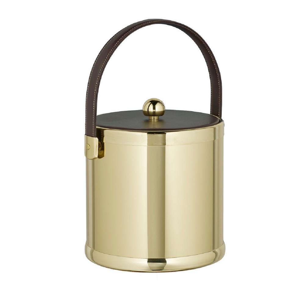 Americano 3 Qt. Polished Brass Ice Bucket with Brown Leatherette Lid