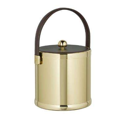Americano 3 Qt. Polished Brass Ice Bucket with Brown Leatherette Lid and Handle