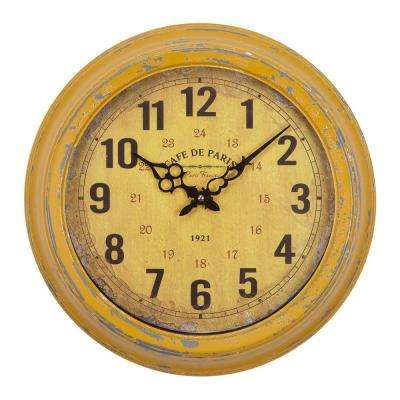 16 in. Circular Iron Wall Clock in Distressed Yellow Frame