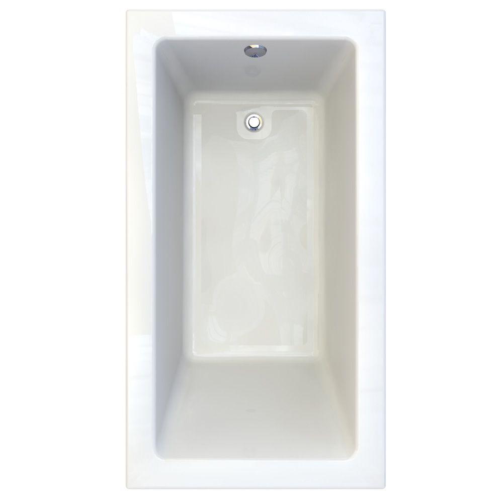 Studio 5.5 ft. Acrylic Rectangular Drop-In Soaking Bathtub in White