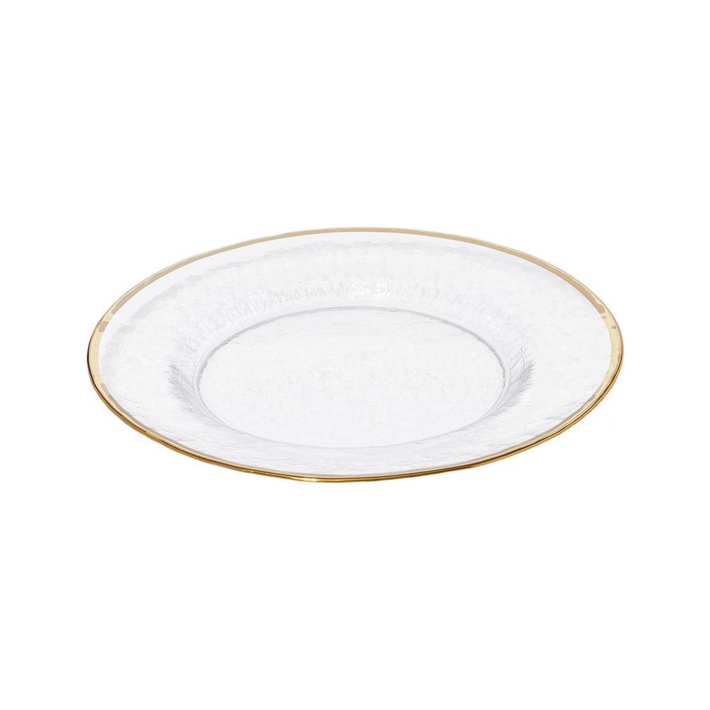 Metallic Gold Rim Glass Clear Dinner Plate (Set of 4)