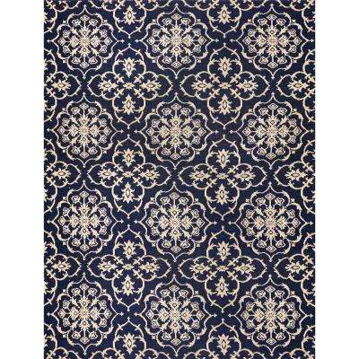 Aurora Grain And Navy 9 Ft X 13 Indoor Outdoor Area Rug