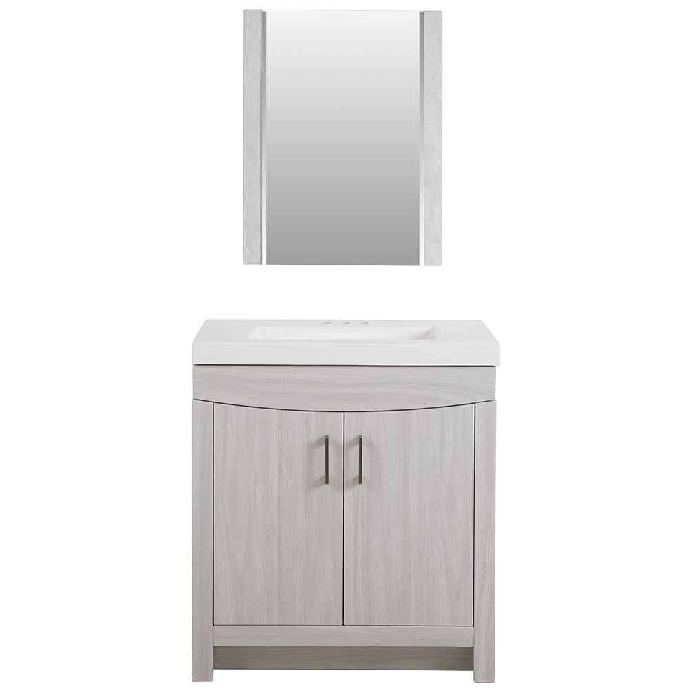 Cordana 30.50 in. W x 18.75 in. D Bath Vanity in Elm Sky w/ Cultured Marble Vanity Top in White w/ White Sink and Mirror