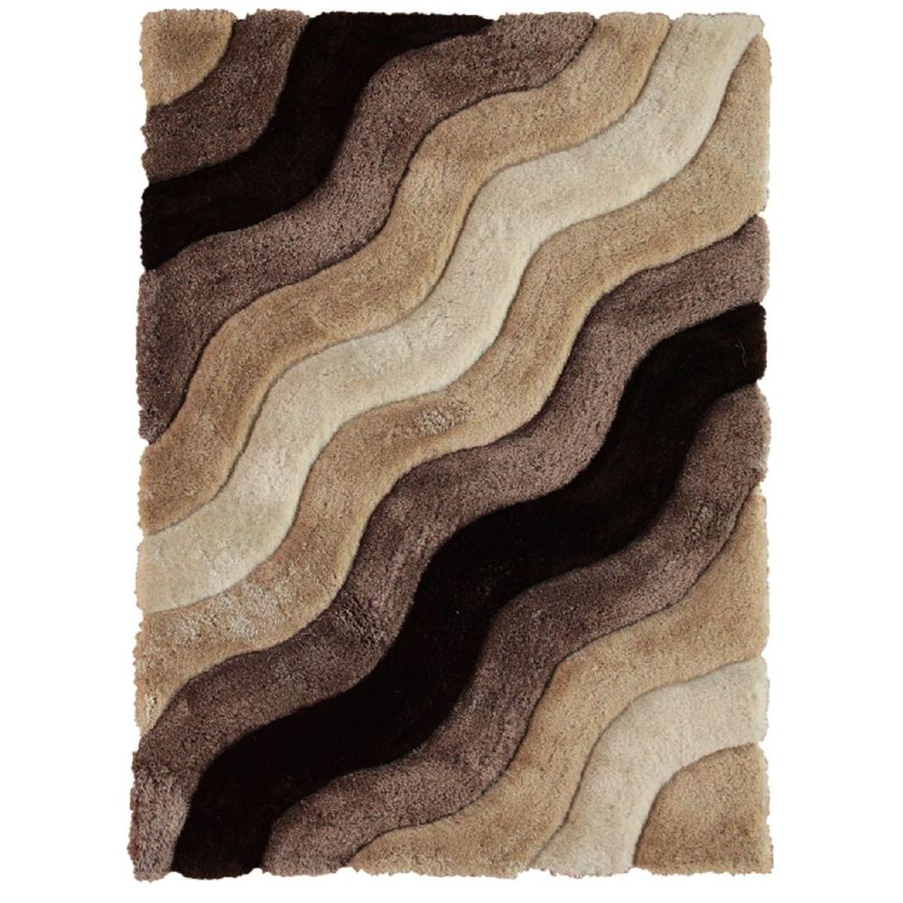 Linon Home Decor Links Collection Wave Brown 5 ft. x 7 ft. Indoor Area Rug The Links Collection features a thick plush shag pile. These rugs have geometric designs carved into the pile. The rich colors complement the designs to give these rugs a luxurious look. Color: Brown.
