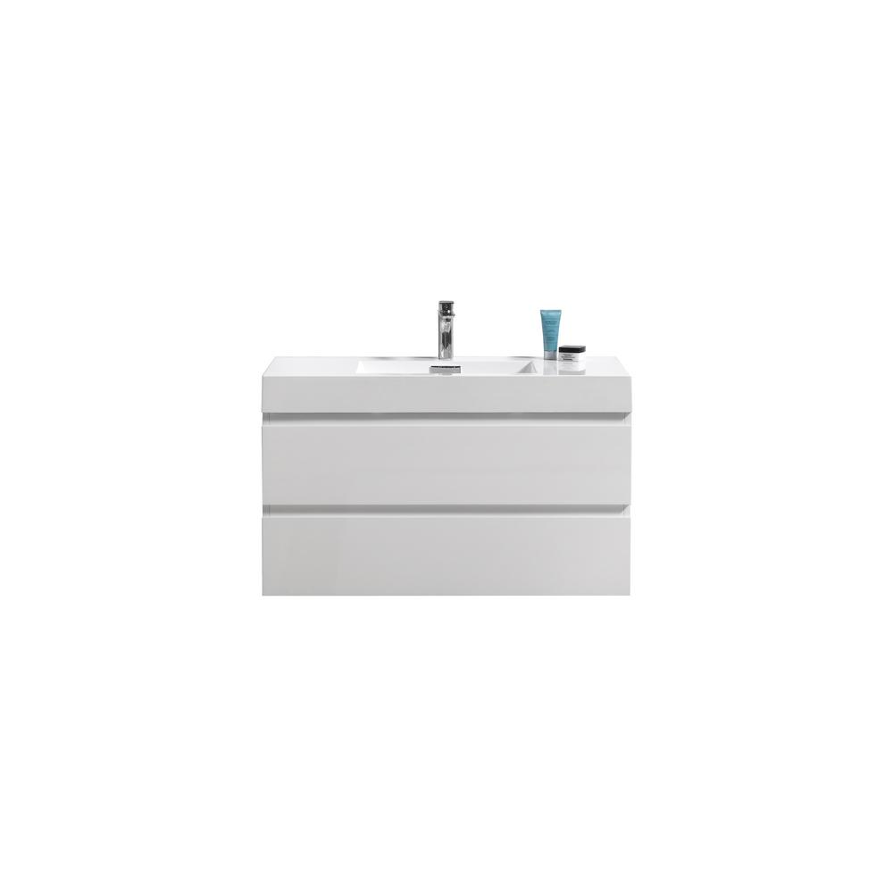 Fortune 40 in. W Bath Vanity in High Gloss White with Reinforced Acrylic Vanity Top in White with White Basin
