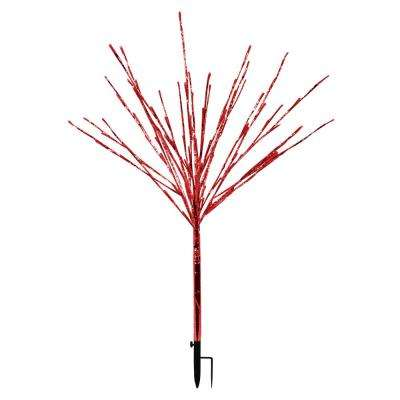 24 in. x 24 in. x 39 in. Silver Taped Bush with Red LED Lights, Indoor and Outdoor
