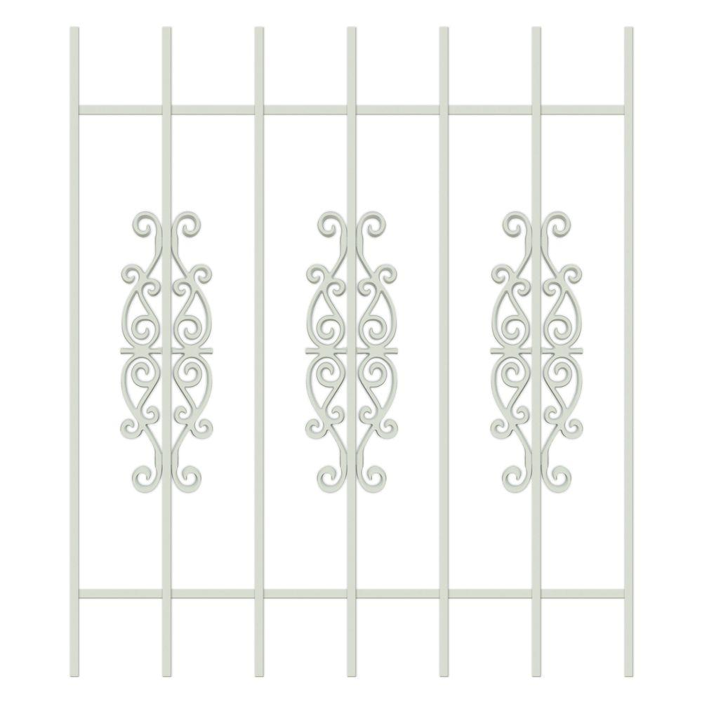 Unique Home Designs Victorian Scrolls 36 in. x 42 in. Almond 7-Bar Window Guard-DISCONTINUED