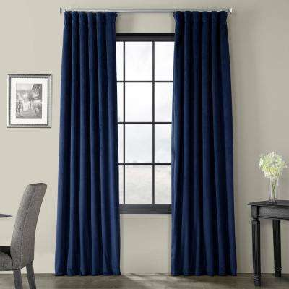 Signature Union Blue Blackout Velvet Curtain - 50 in. W x 108 in. L