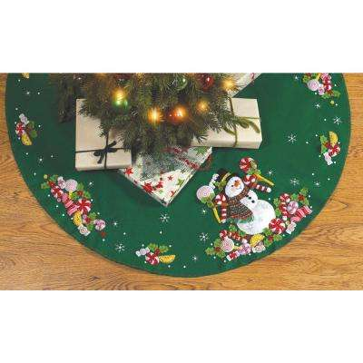 43 in. Round Candy Snowman Tree Skirt Adult Felt Applique Kit