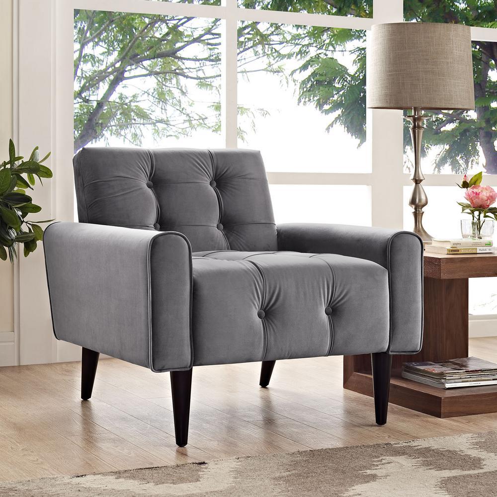MODWAY Gray Delve Velvet Arm Chair
