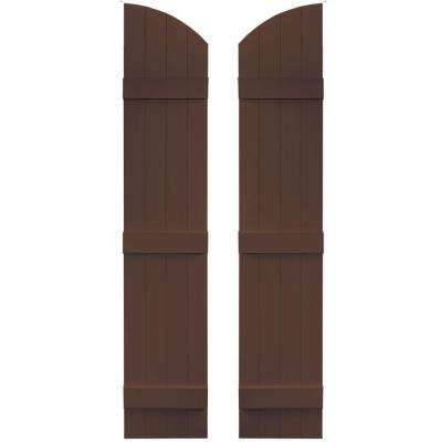 14 in. x 65 in. Board-N-Batten Shutters Pair, 4 Boards Joined with Arch Top #009 Federal Brown