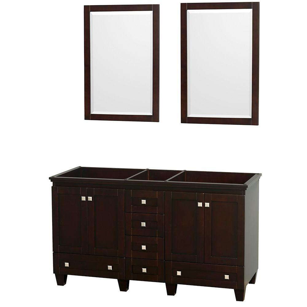 Acclaim 60 in. Double Vanity Cabinet with 2 Mirrors in Espresso