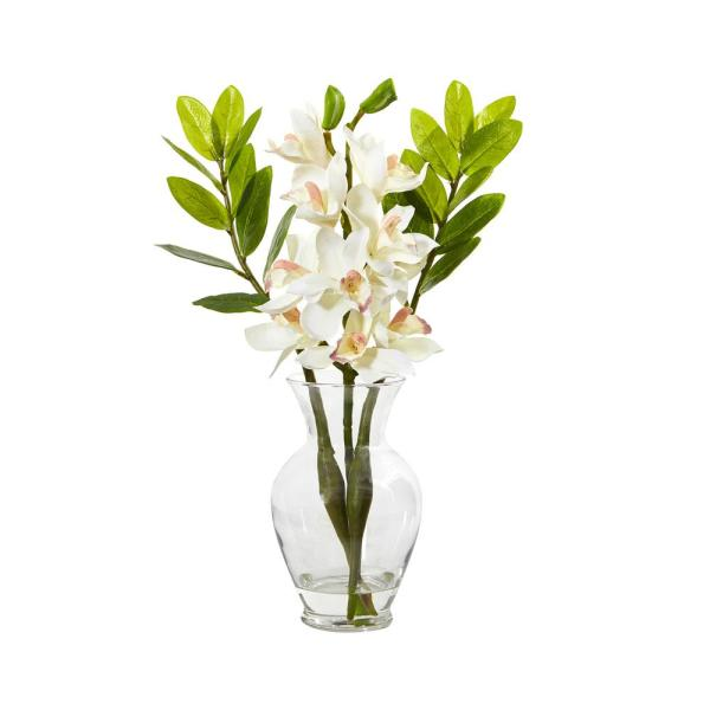 19 in. Cymbidium Orchid and Zamioculcas Artificial Arrangement