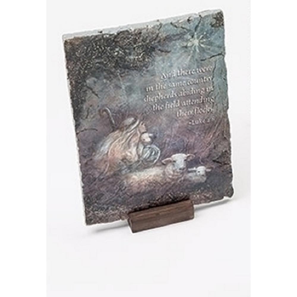 7 in. Inspirational Luke 2:8 Shepherd Religious Christmas Decorative Plaque