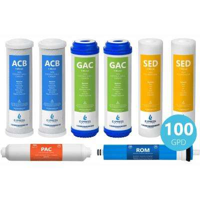1 Year Reverse Osmosis Filter Set - 8 Filters w/ 100 GPD RO Membrane, Carbon (GAC, ACB, PAC) Filters, Sediment (SED)