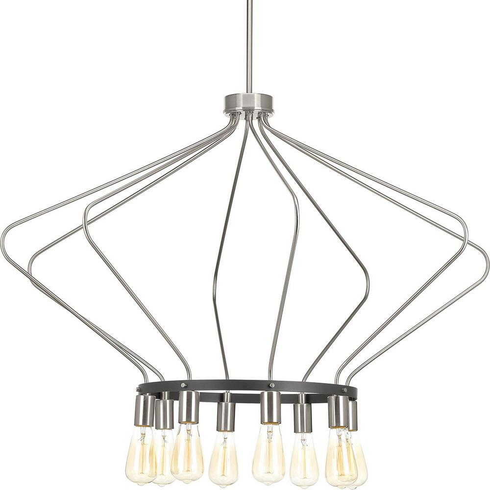 Hangar collection 8 light brushed nickel chandelier