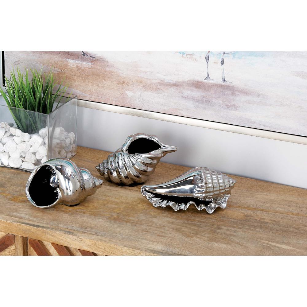 Coastal Living Silver Ceramic Seashells (Set of 3)