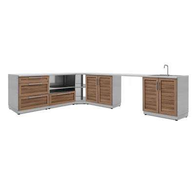 Natural Cherry 7-Piece 112.38 in. W x 36.5 in. H x 24 in. D Outdoor Kitchen Cabinet Set with Countertops and Covers