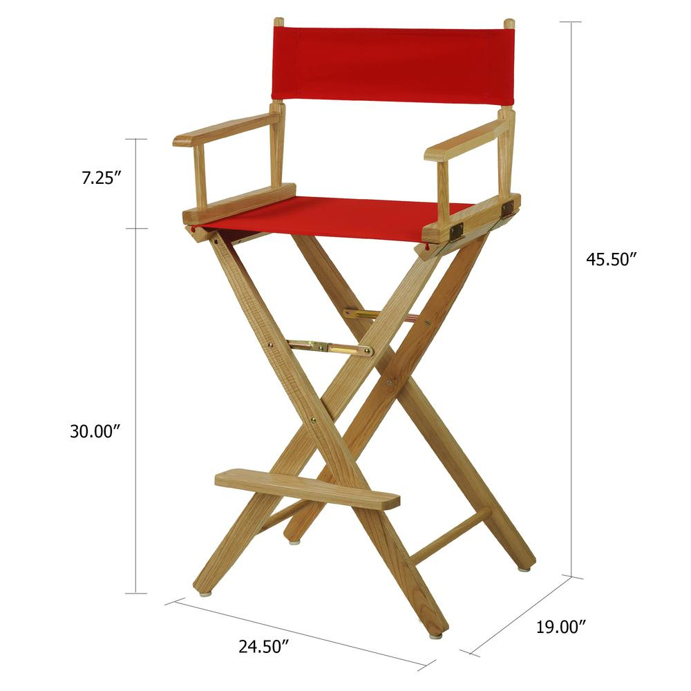 Amazing American Trails 30 In Extra Wide Natural Wood Frame Red Canvas Seat Folding Directors Chair Uwap Interior Chair Design Uwaporg