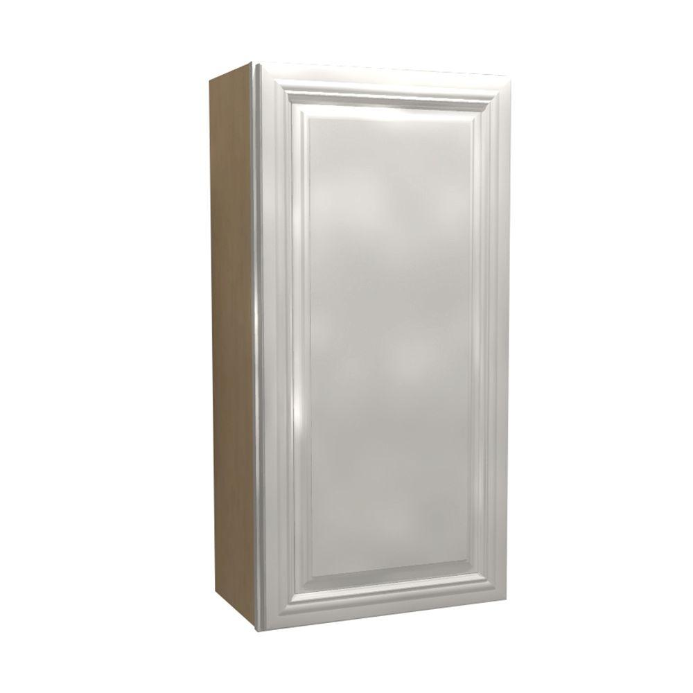Home Decorators Collection Coventry Assembled 15x42x12 in. Single Door Hinge Right Wall Kitchen Cabinet in Pacific White
