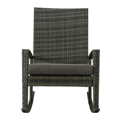Belle Wicker Outdoor Rocking Chair with Gray Cushion