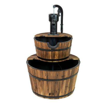 Patio Premier Wood Deluxe 2-Tiered Cascading Washtub Fountain
