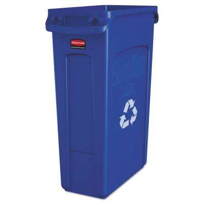 Slim Jim 23 Gal Blue Plastic Recycling Container with Venting Channels