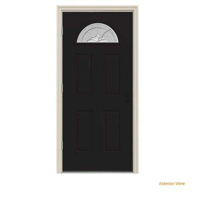 36 in. x 80 in. Fan Lite Langford Black Painted Steel Prehung Right-Hand Outswing Front Door w/Brickmould