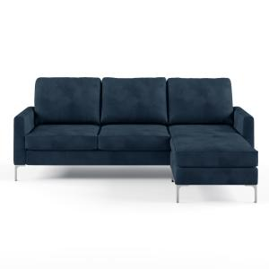 Cool Novogratz Chapman Blue Velvet Sectional Sofa With Chrome Onthecornerstone Fun Painted Chair Ideas Images Onthecornerstoneorg