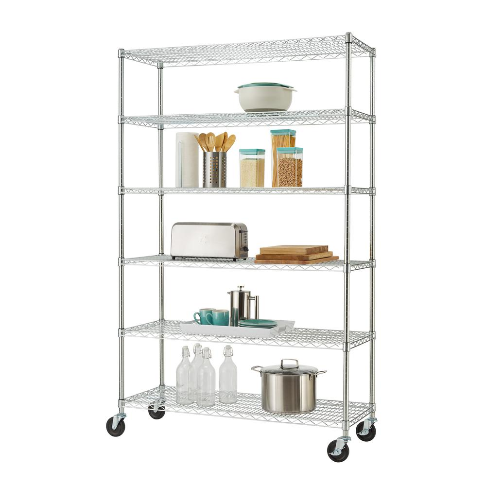 D 6-Tier NSF Wire Shelving Rack in Chrome