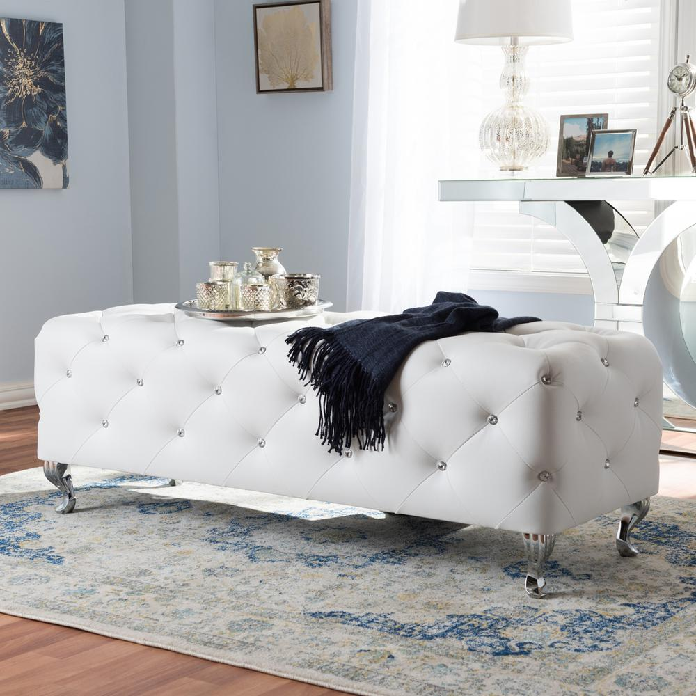 Stella Glam White Faux Leather Upholstered Ottoman
