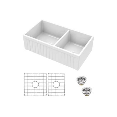 Fireclay 33 in. Double Bowl Apron-Front Farmhouse Kitchen Sink with Grid Set and Drain Assemblies