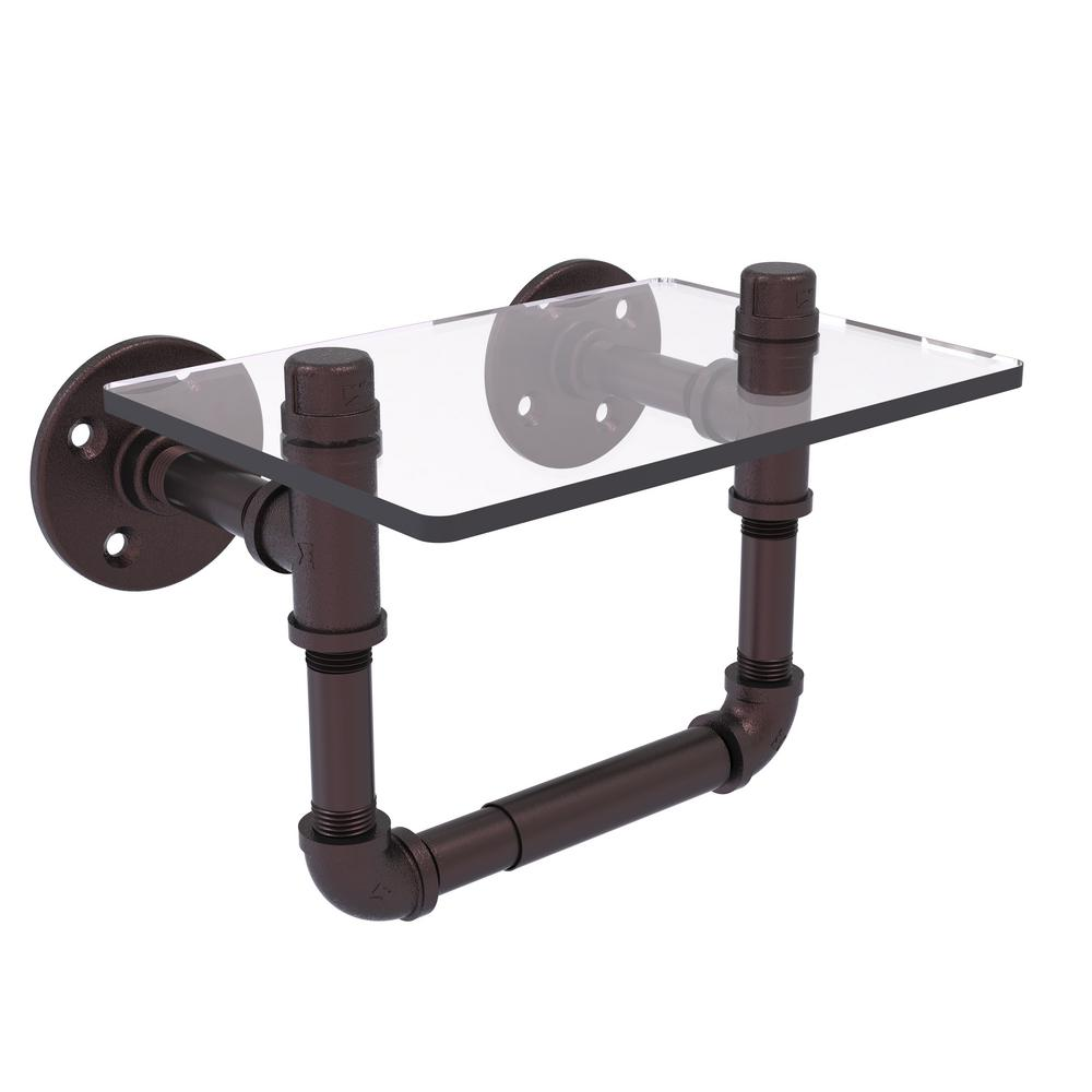 Pipeline Collection Wall-Mount Toilet Tissue Holder with Glass Shelf in Antique